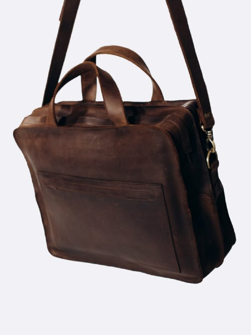 TORBA MĘSKA T02 VINTAGE BROWN - torba na ramię brązowa na laptopa - brązowa torba służbowa  na laptopa - Lezerton