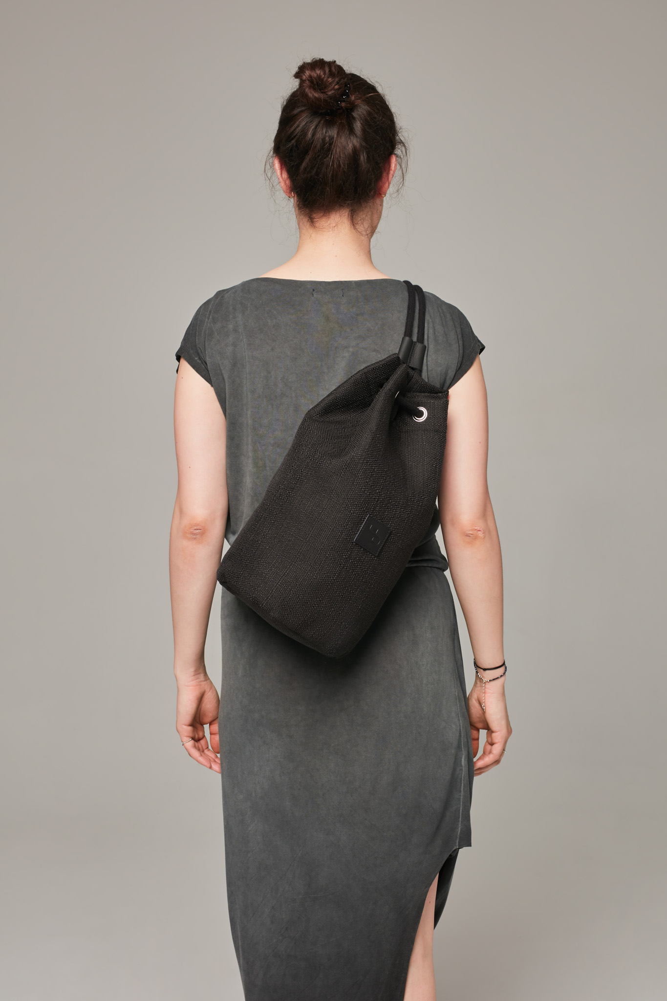 Czarny plecak-tuba / black - czarny nieprzemakalny ze sznurkiem Lootbag