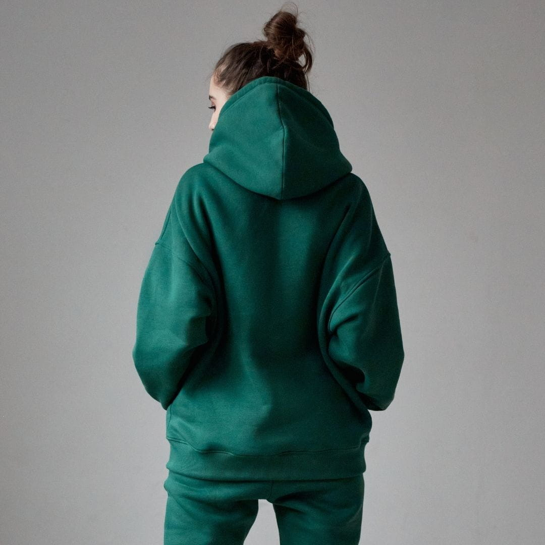 Bawełniana bluza damska oversize FOREST GREEN - Holystic | JestemSlow.pl