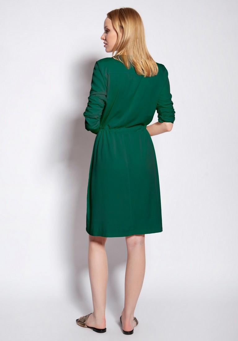 Sukienka zapinana na guziki, SUK183 zielony - Lanti