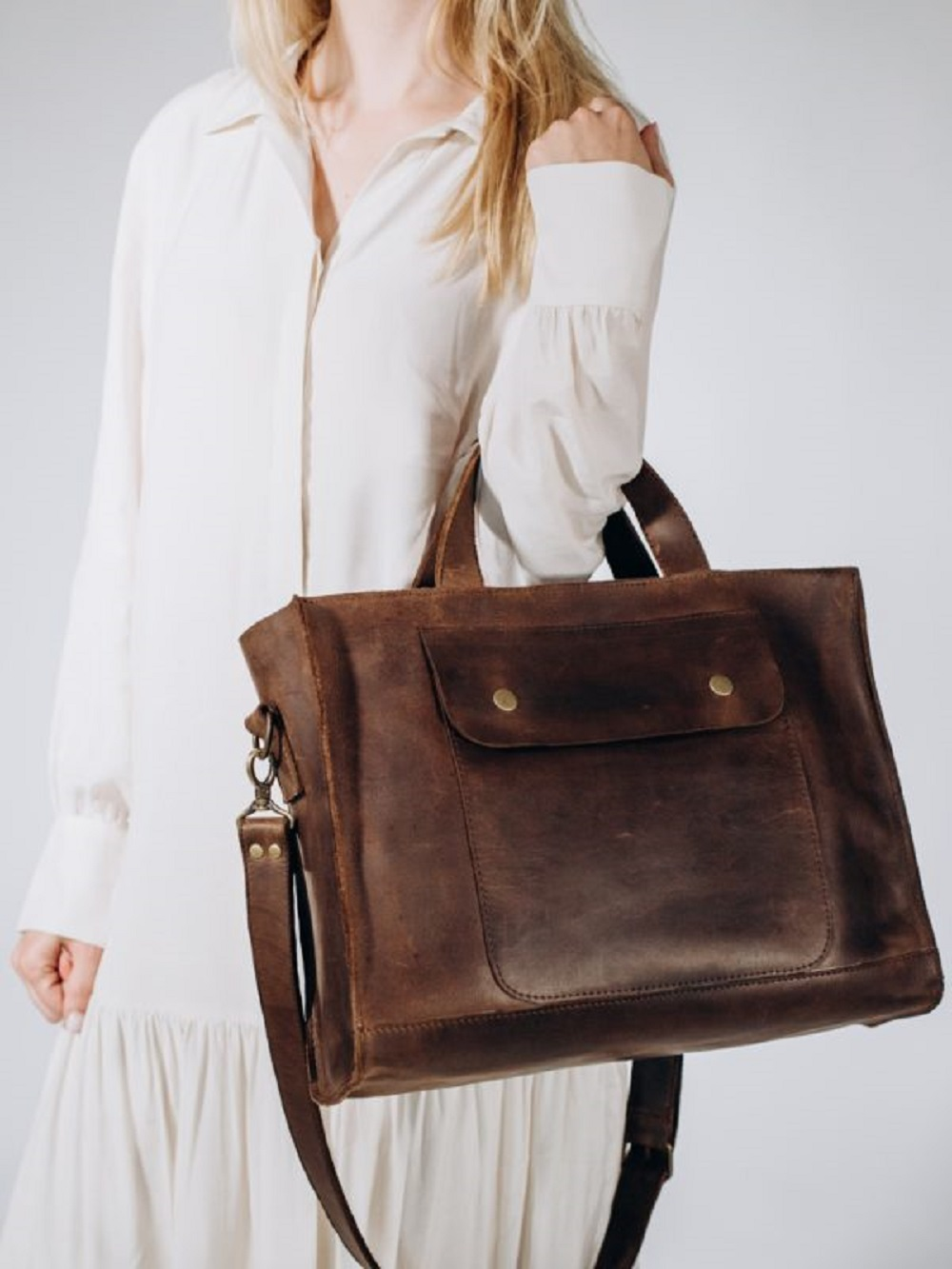 TORBA DAMSKA T03 VINTAGE BROWN - torba unisex brązowa - torba służbowa - torba elegancka - Lezerton