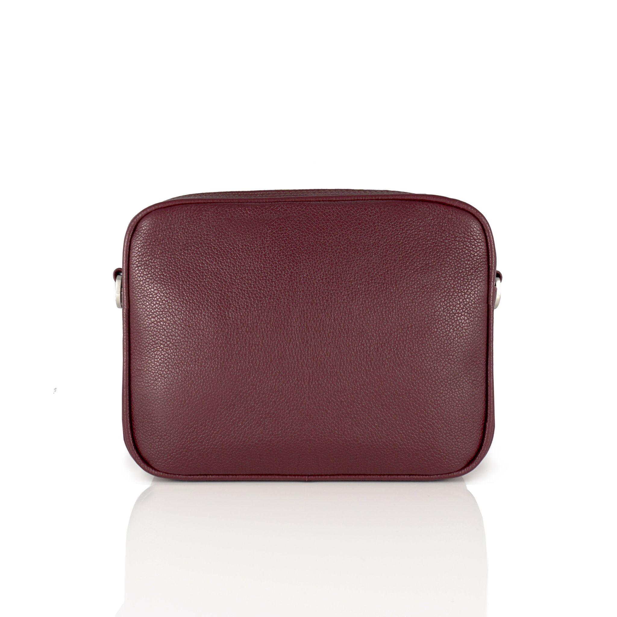 BOXY MIDI BORDO - torebka skórzana - torebka w kształcie pudełka - torebka na suwak - torebka na pasek - torebka w kolorze bakłażanu - Rozwadowska Bags