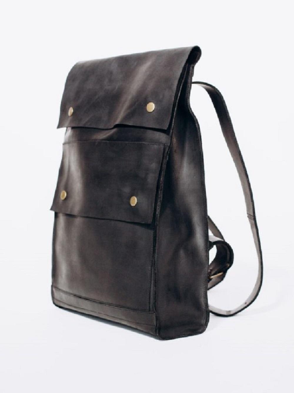 PLECAK P01 DEEP BLACK -plecak ze skóry naturalnej - plecak czarny retro -  Lezerton