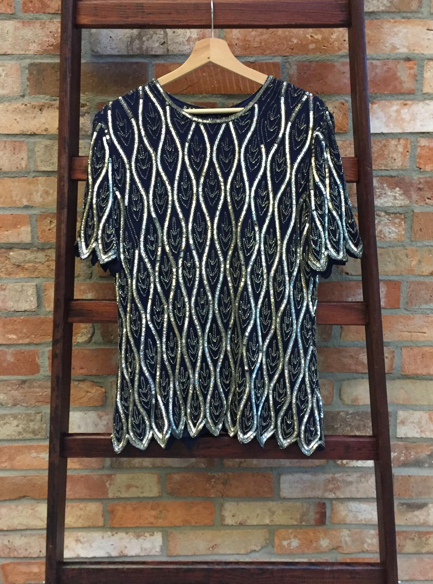 Jedwabna bluzka z koralikami Vintage - Vintage Store | JestemSlow.pl