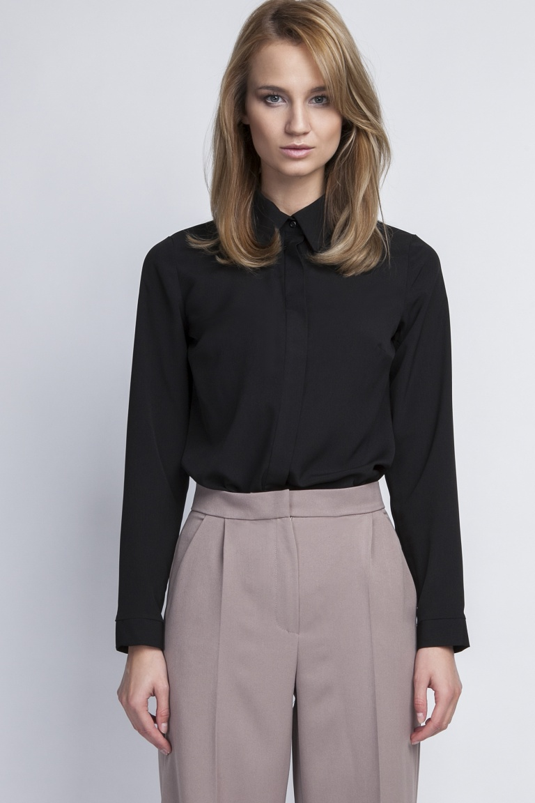 Elegancka koszula, K101 czarny - Lanti