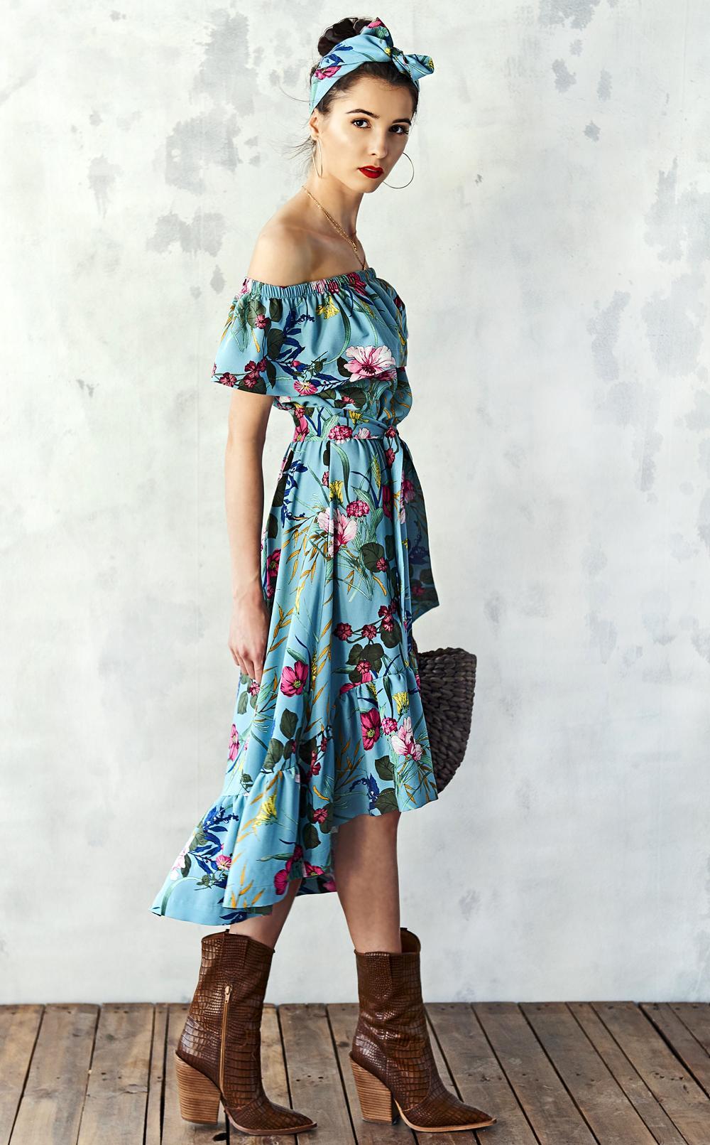 Sukienka z falbaną w kwiaty polski projektant - Kasia Miciak design