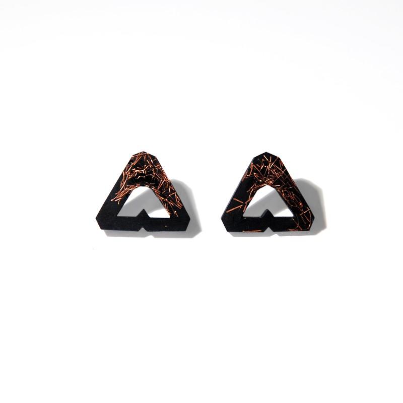 kolczyki trójkąty z miedzią Czarny - Monopolka