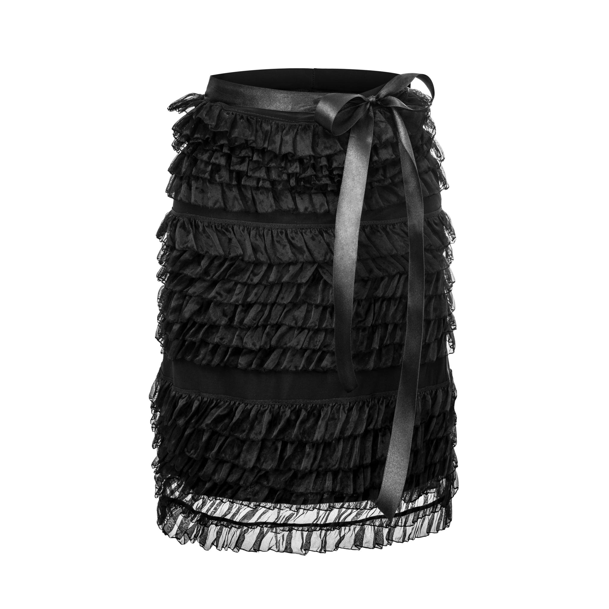 Prosta spódnica udekorowana falbankami i atlasowa wstązką na pasie Skład wiskoza 50 bawełna 50