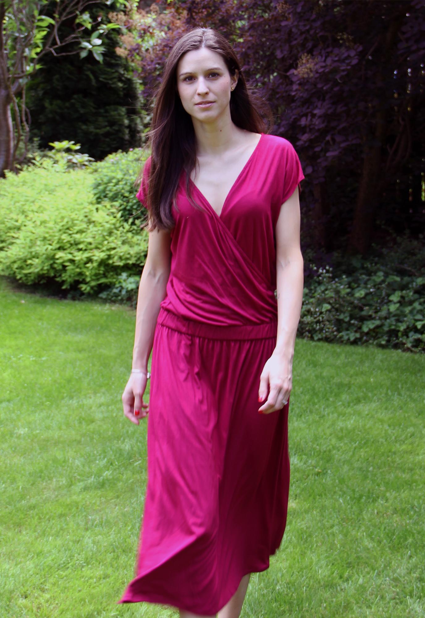 Sukienka Midi Roza Kopertowa WOMAN  czerwona sukienka maxi polski projektant - The Same