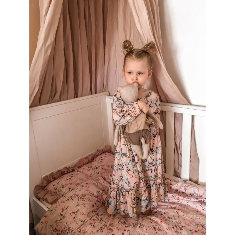Sukienka długa w kwiaty brudny róż Rozmiar - Mizerki Kids