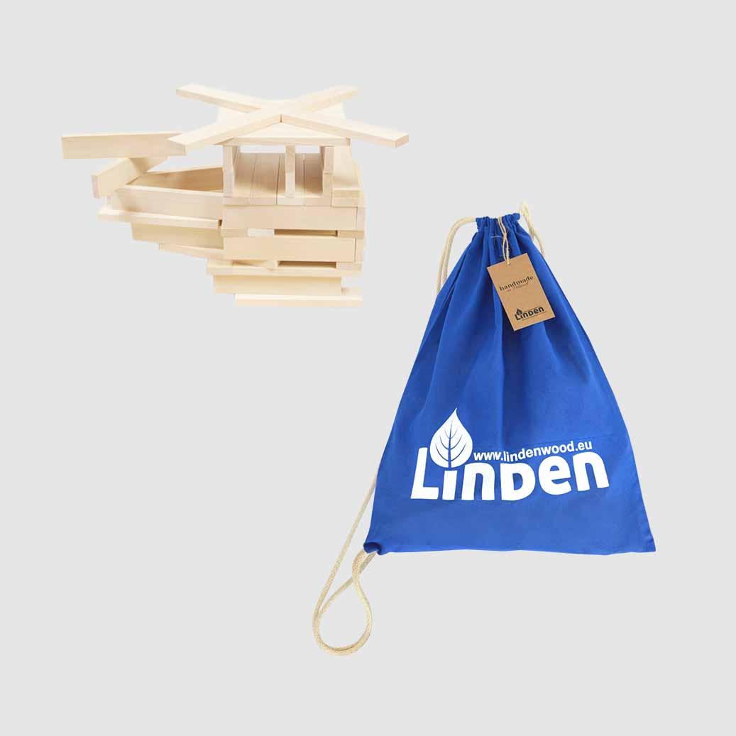 Zestaw klocków drewnianych Linden w worku - Klocki Linden   JestemSlow.pl