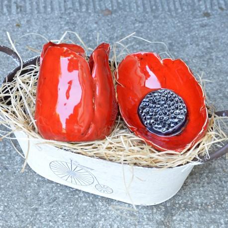 Komplet Czerwone Maki ceramiczny do łazienki - Dotyk Kreacji | JestemSlow.pl