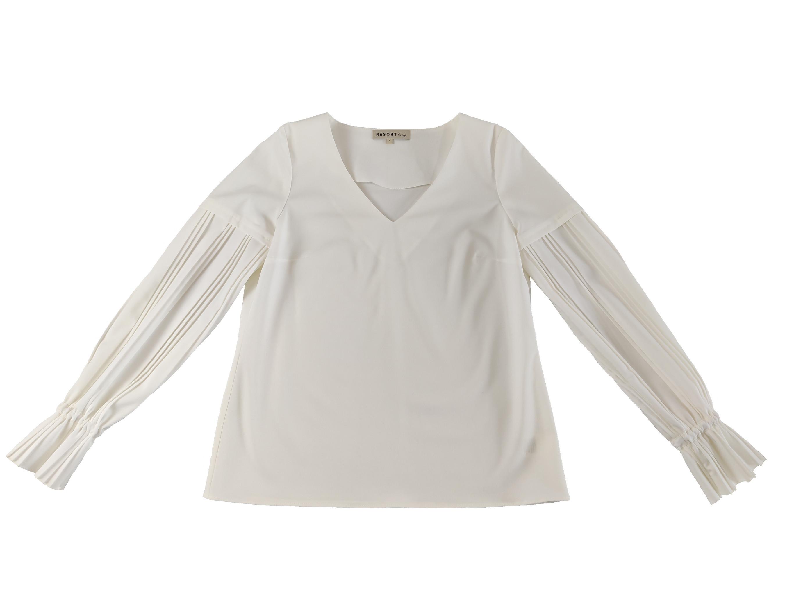 bluzka z plisowanymi rękawami biała - Resort Living