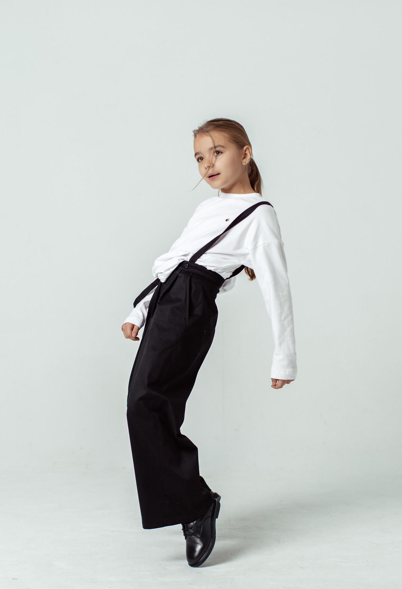 Spodnie na szelkach bawełna czarny - Domino.little.dress | JestemSlow.pl