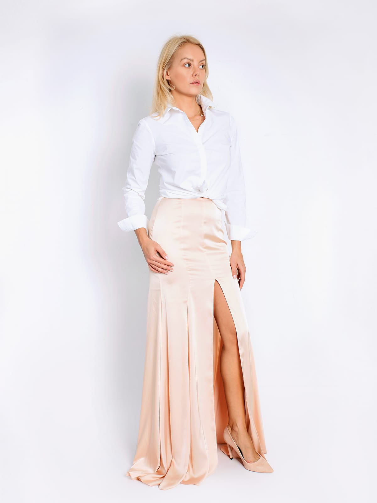 Tropical Peach Satin Skirt - DILIGENT