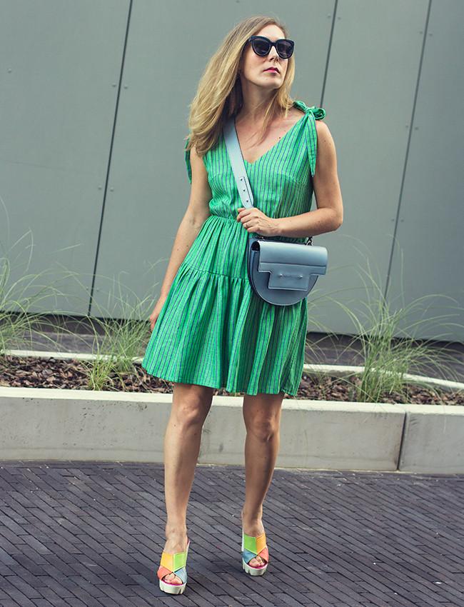 Sukienka wiskoza len HUNNY BUNNY mini zielony - Cocoon
