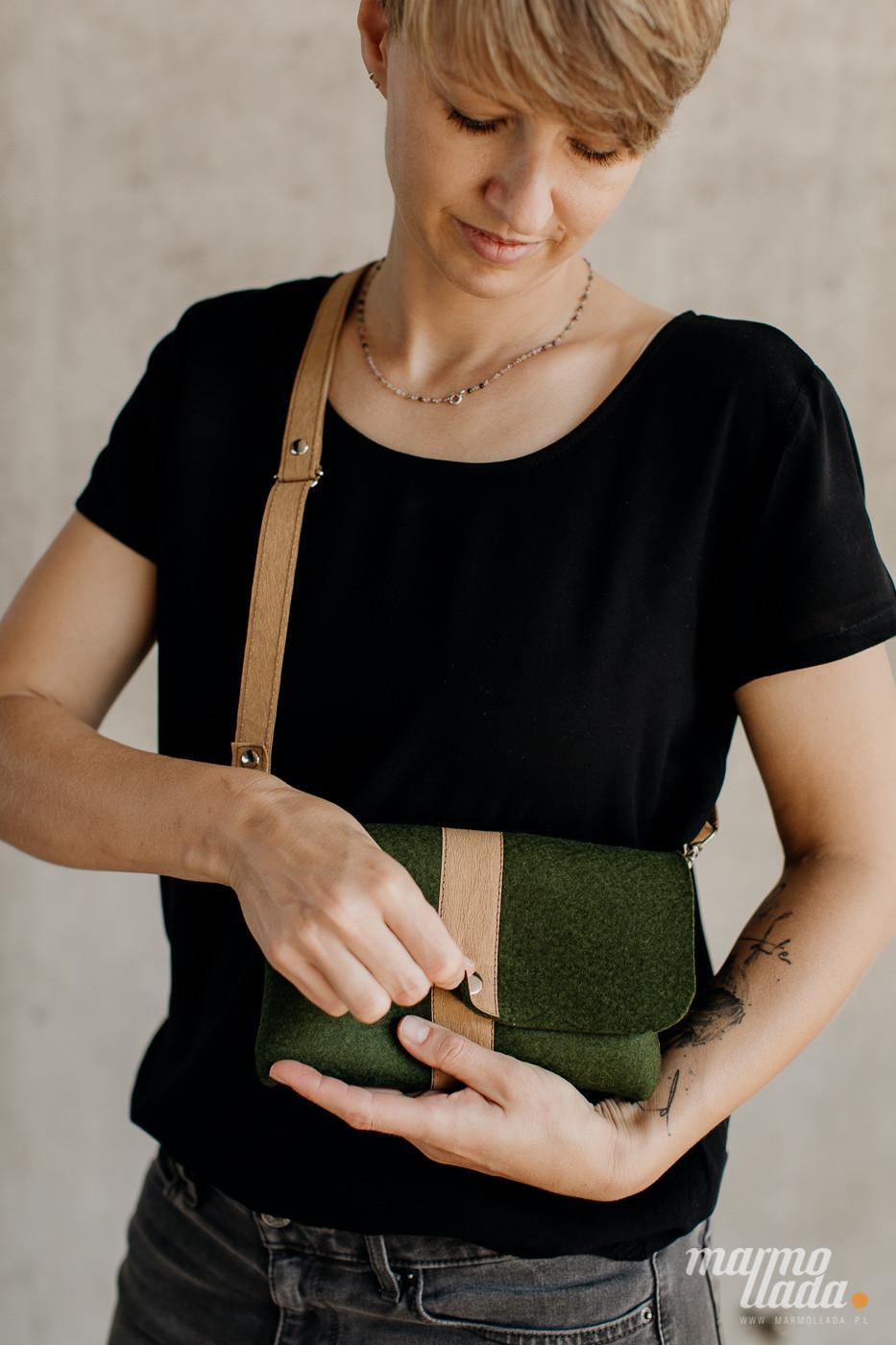 marmollada - torebka filcowa mała LEŚNA z piaskowymi dodatkami - Marmollada
