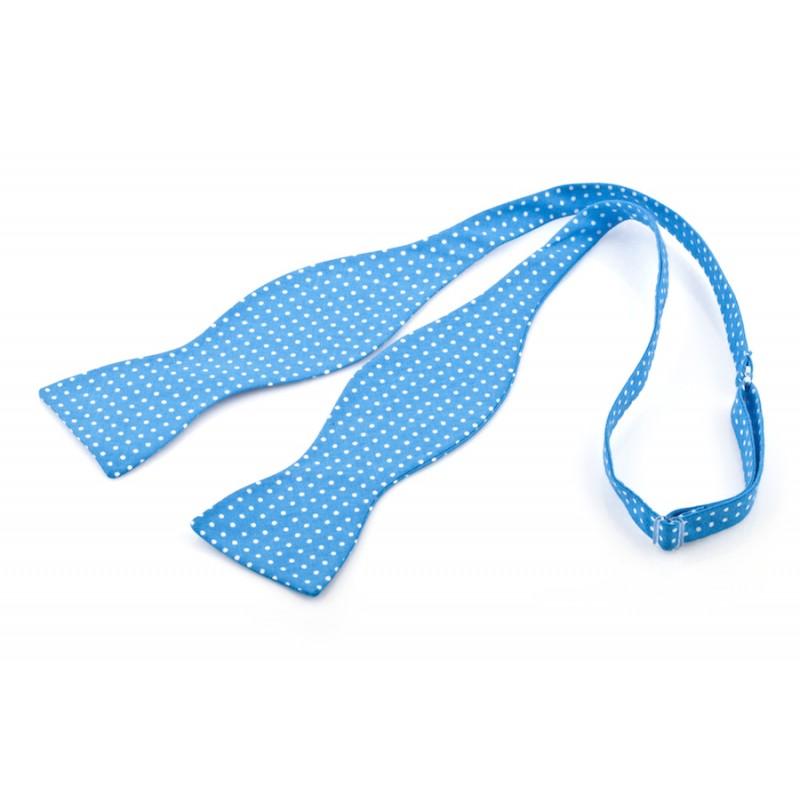 Mucha wiązana ARCGIDONA błękit Błękitny Bawełna Kropki - HisOutfit