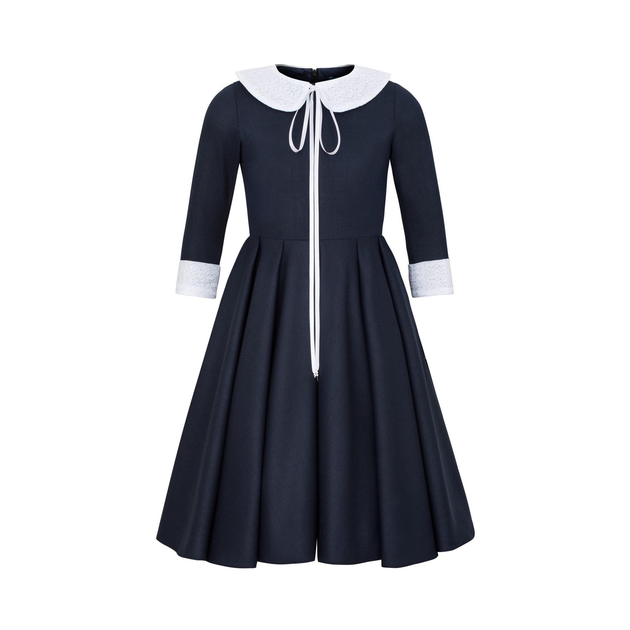 Granatowa sukienka z kołnierzykiem wiskoza granatowy - Domino.little.dress