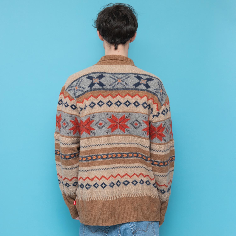Ciepły sweter z wełny w zimowe wzory z kołnierzem - KEX Vintage Store   JestemSlow.pl