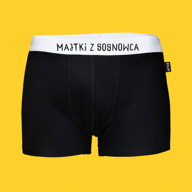 Majtki z Sosnowca - KLASYK - bokserki bambusowe męskie czarne z napisem - Majtki z Sosnowca by After Panty