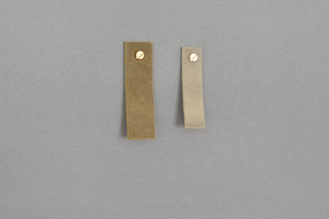 Skórzany uchwyt meblowy Lade Li #6 oliwkowy 15 mm - Steil