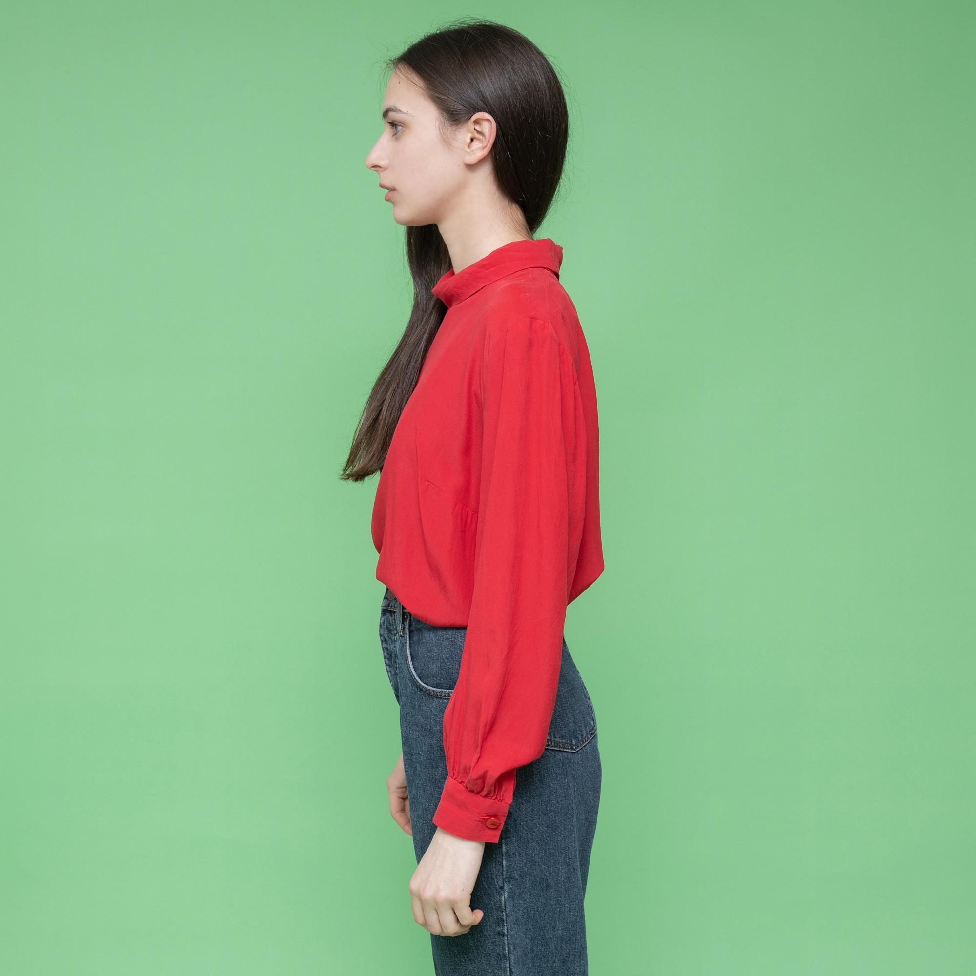 Czerwona koszula z jedwabiu - pólgolf - KEX Vintage Store | JestemSlow.pl