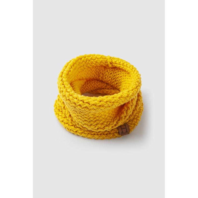 Komin z wełny merynosa handmade ŻÓŁTY Żółty Wełna - HisOutfit