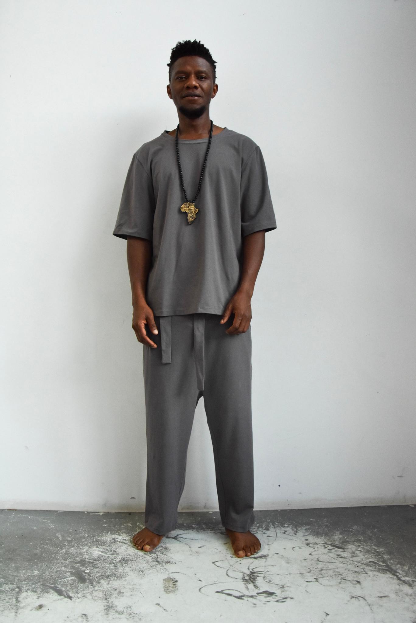 Spodnie z bawełny organicznej szare - INAF.F | JestemSlow.pl