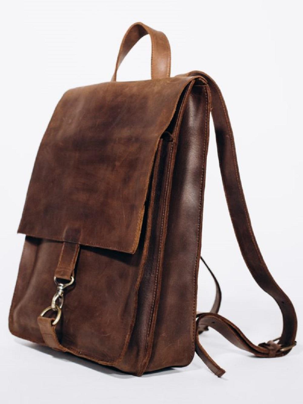 PLECAK P02 VINTAGE BROWN - brązowy plecak ze skóry naturalnej - brązowy plecak retro - Lezerton