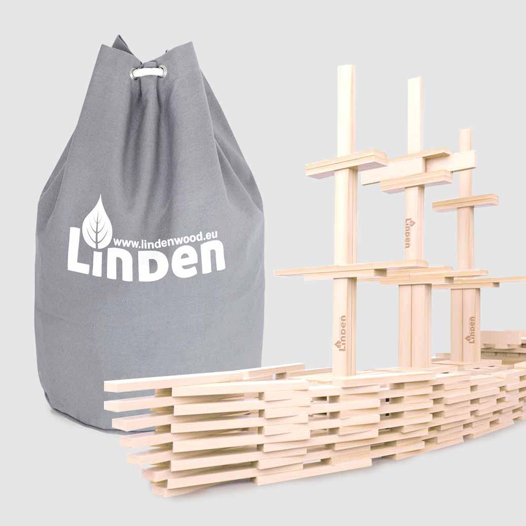 Zestaw klocków drewnianych Linden w worku żeglarskim - Klocki Linden   JestemSlow.pl