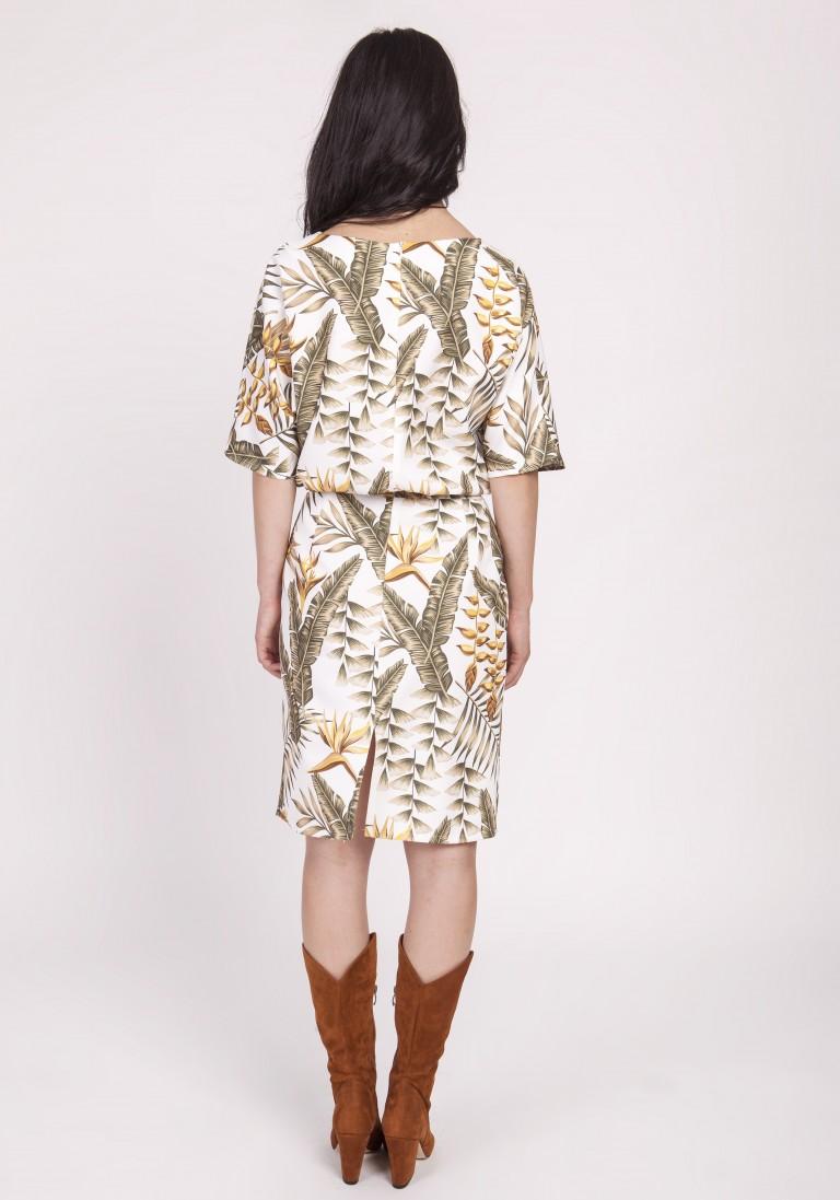 Sukienka dopasowana dołem, SUK123 liście ecru - Lanti