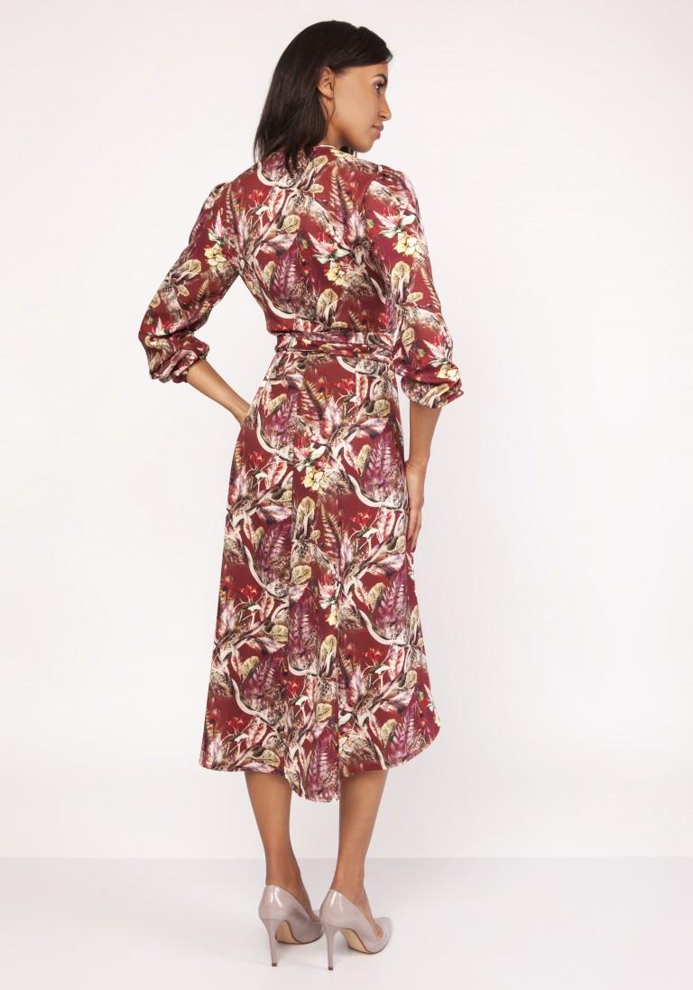 Asymetryczna, kopertowa sukienka, SUK161 wzór - Lanti