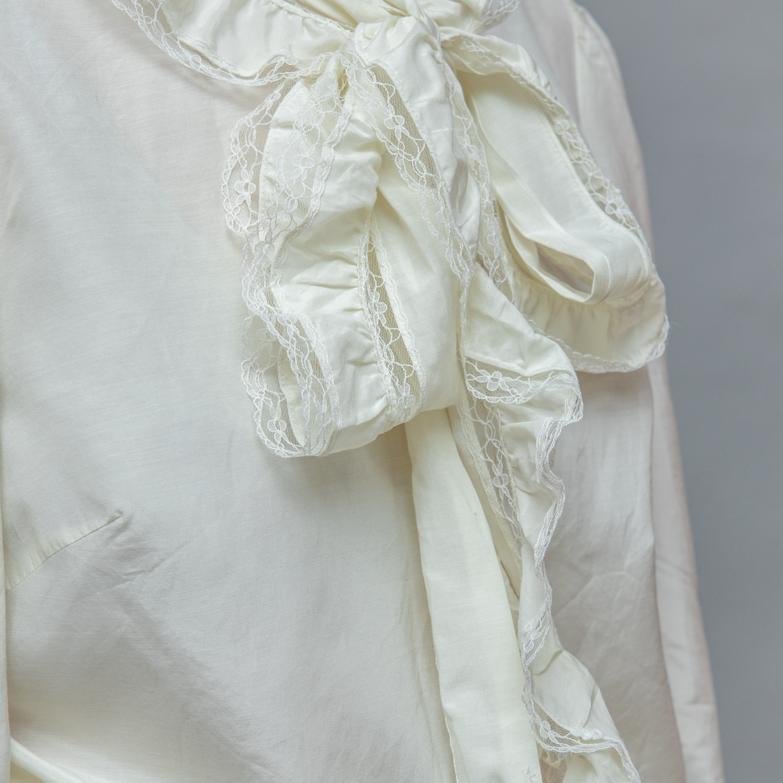 Koszula ecru z jedwabiem i kołnierzem typu tie neck - KEX Vintage Store | JestemSlow.pl