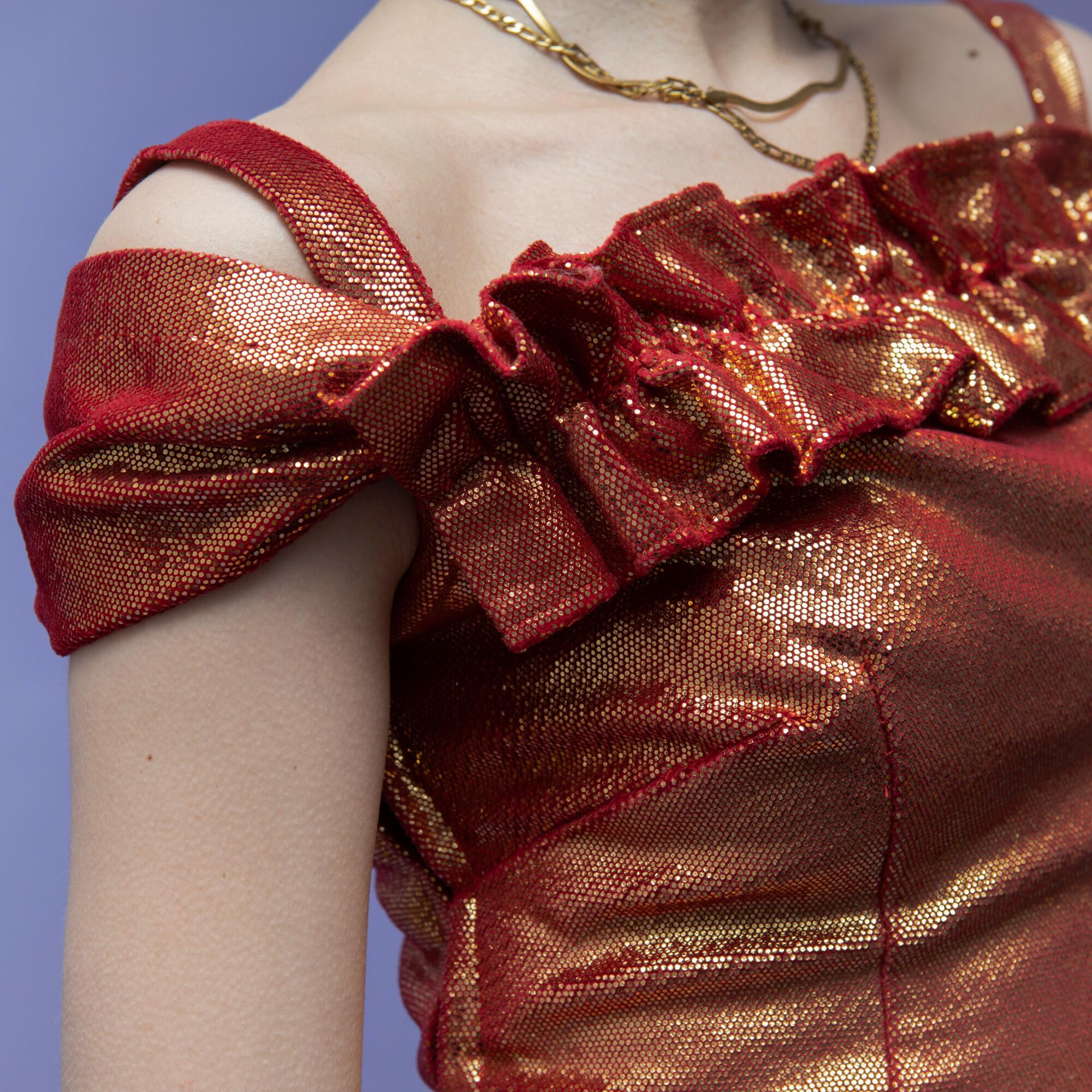 Czerwono-pomarańczowa sukienka smocza łuska - KEX Vintage Store | JestemSlow.pl