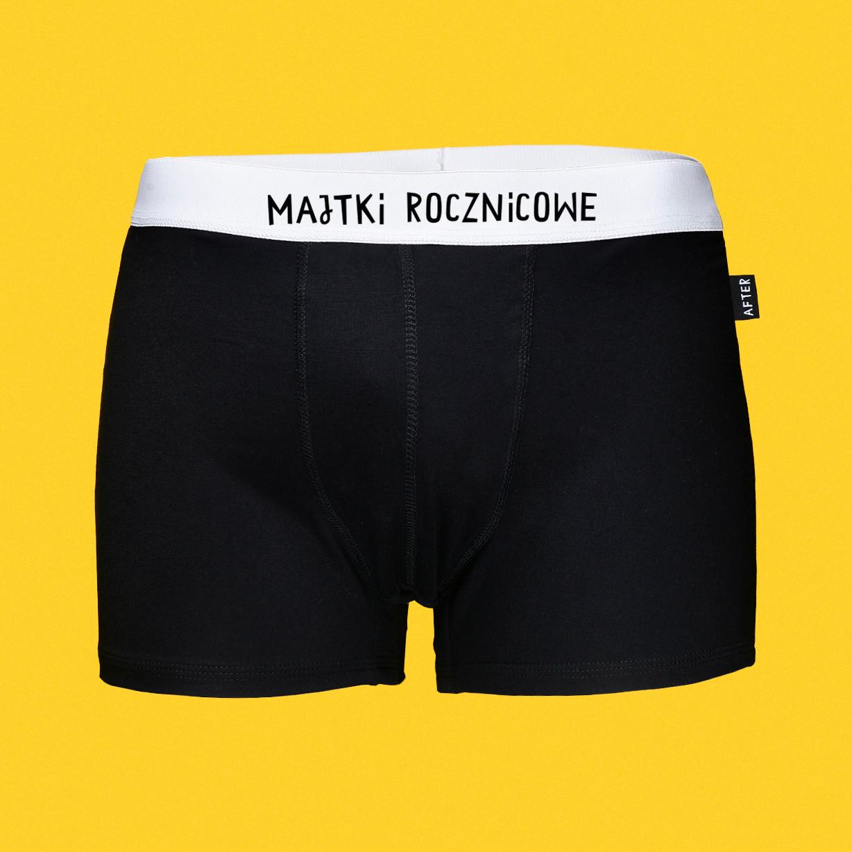 Majtki rocznicowe - bokserki bambusowe męskie czarne z napisem - Majtki z Sosnowca by After Panty