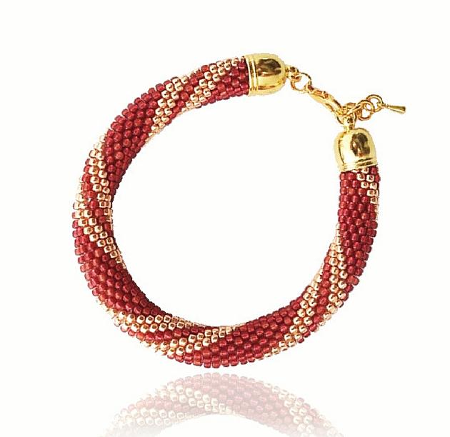 "Bransoletka Koralikowa Color&Gold ""Strawberry and Gold"" - ilovehandmade"