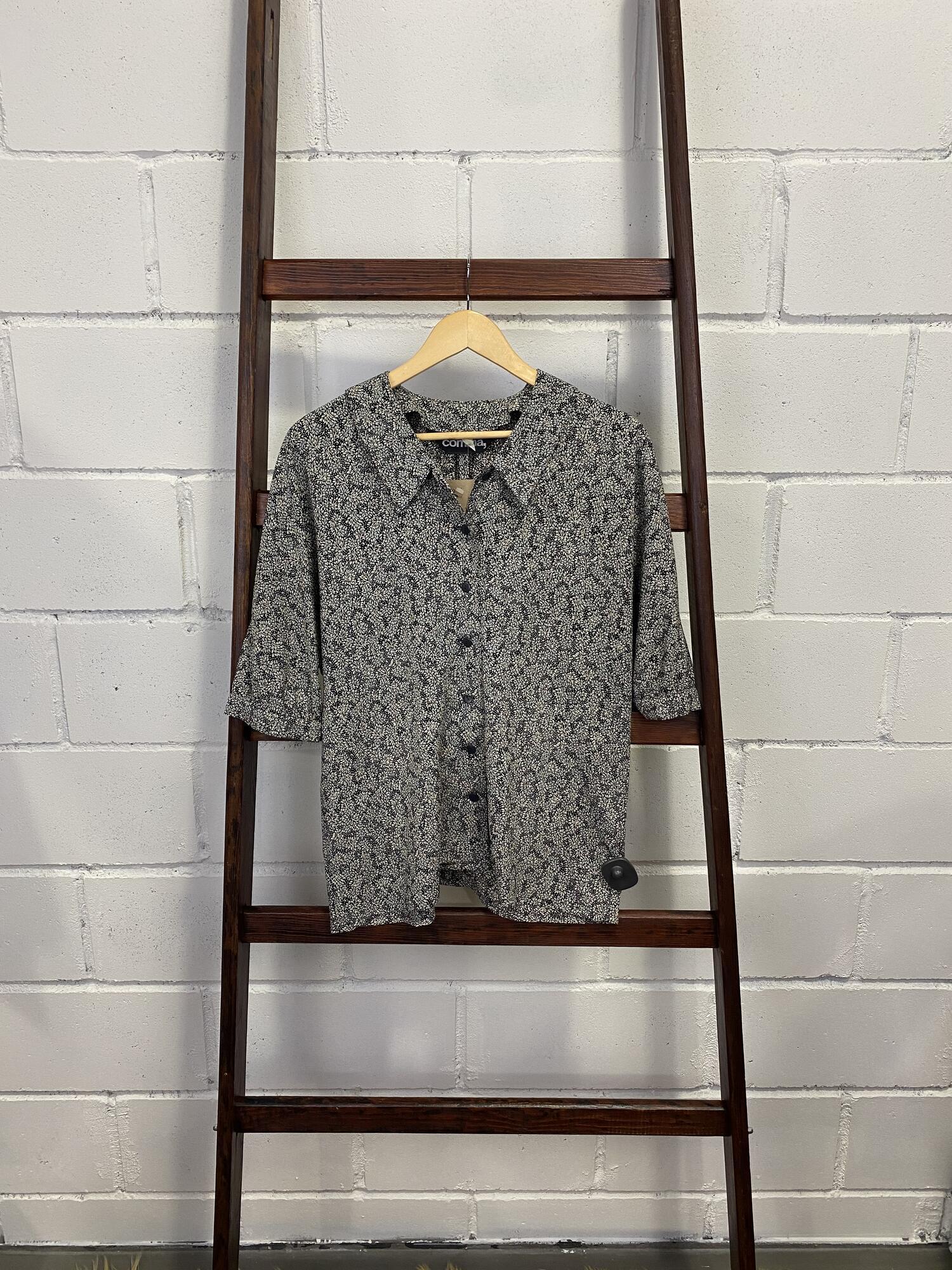 Koszula w drobne liście z krótkim rękawem COMMA - Vintage Store | JestemSlow.pl