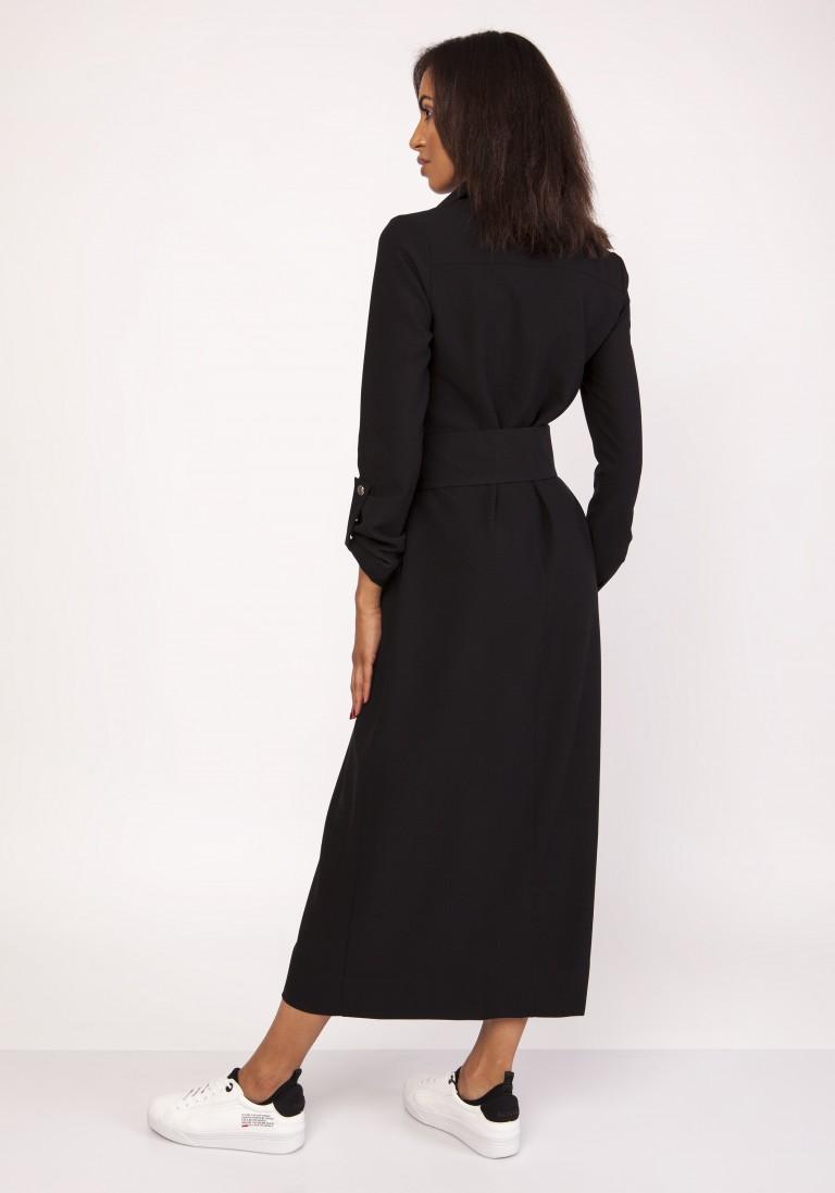 Długa sukienka w stylu militarnym, SUK157 czarny - Lanti