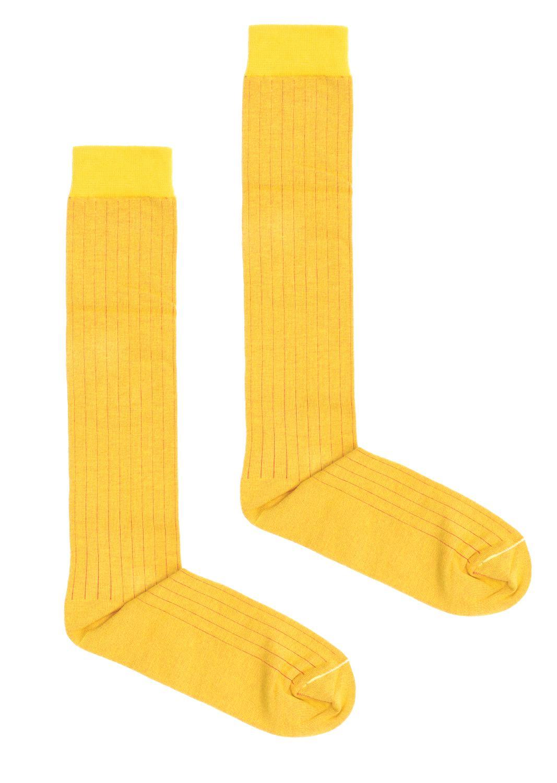 Skarpetki podkolanówki żółte w prążek - KABAK