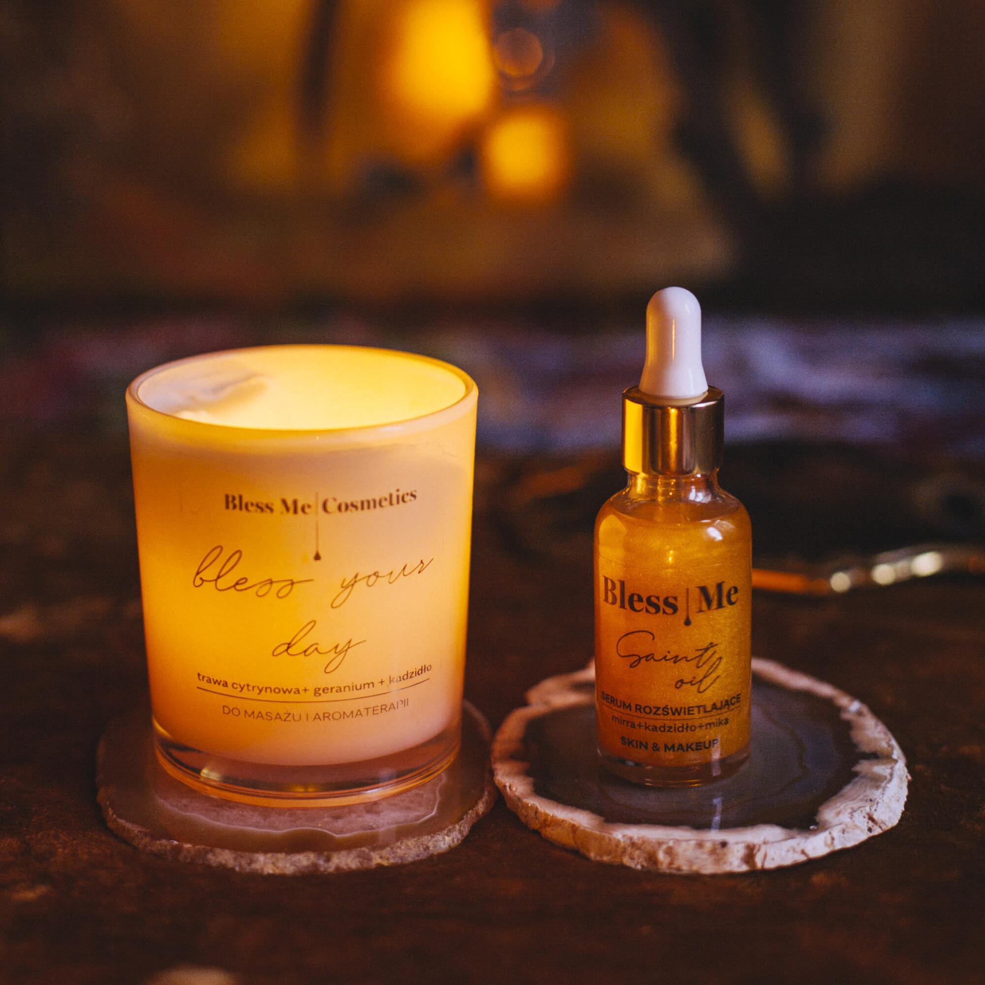 Zestaw: Serum Rozświetlające Saint Oil 30 ml SKIN & MAKE UP i Świeca Bless Your Day - Bless Me Cosmetics | JestemSlow.pl