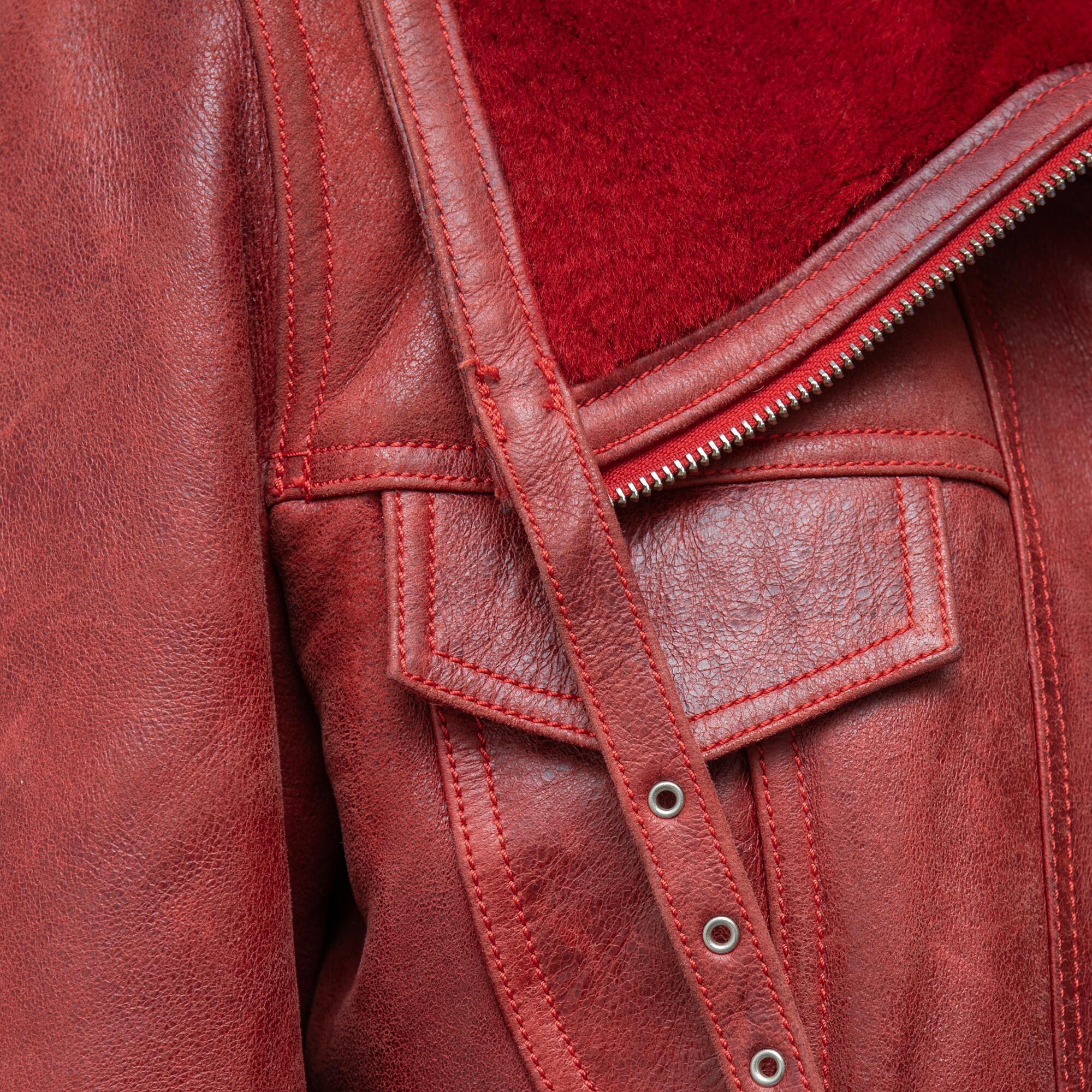 Czerwona kurtka ze skóry - KEX Vintage Store | JestemSlow.pl