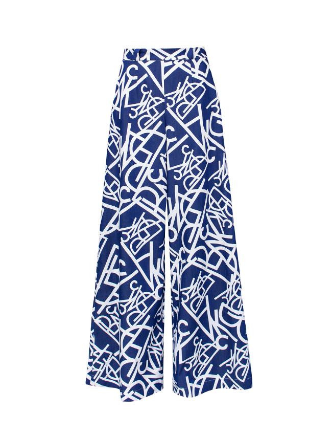Spodnie LITERKI szwedy dzwony szerokie przewiewne printy - Cocoon
