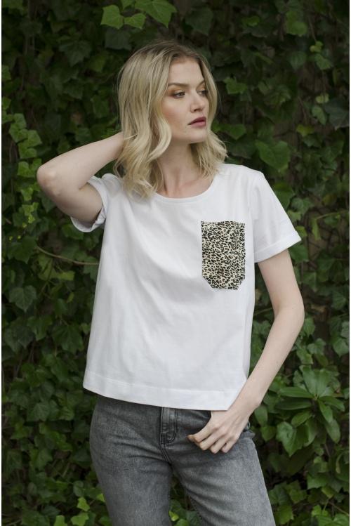 T-shirt z kieszonką PANTERA Biały - Kokoszka