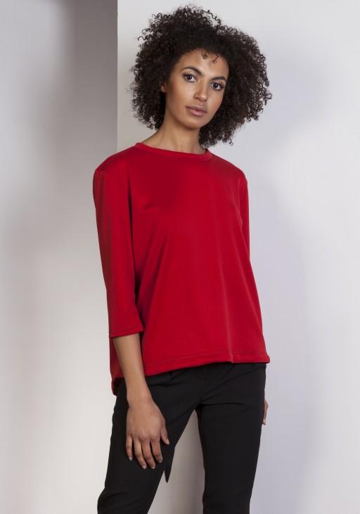 Luźna bluzka – frak, BLU140 czerwony - Lanti   JestemSlow.pl