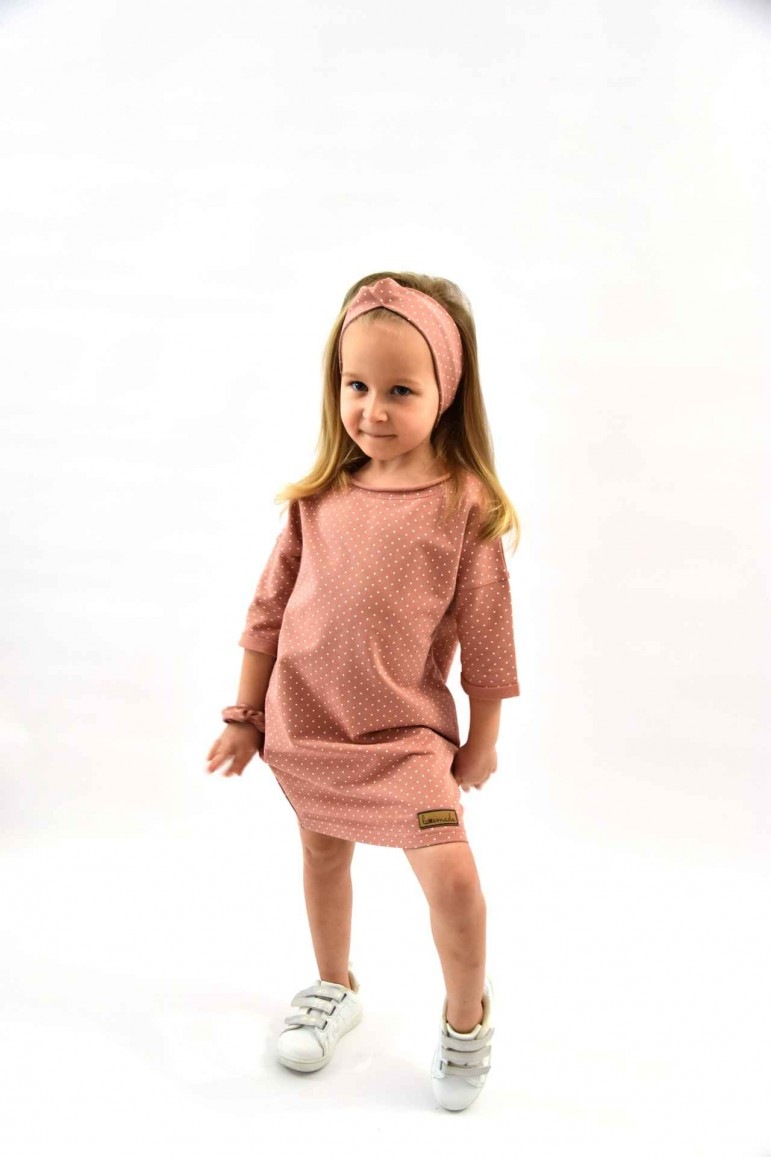 Dresowa tuniko - sukienka dla dziewczynki - pudrowy róż - Lovemade