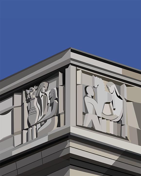 Kaśka - plakat Płaskorzeźba detal PDT na Woli - KABAK