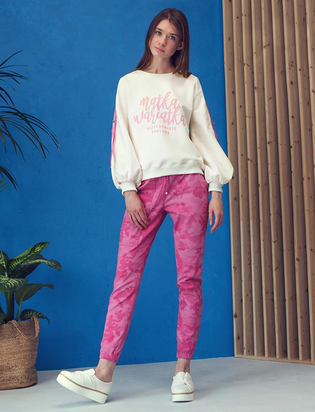 Bluza MATKA WARIATKA pink kremowa różowa z napisem dla mamy - Cocoon