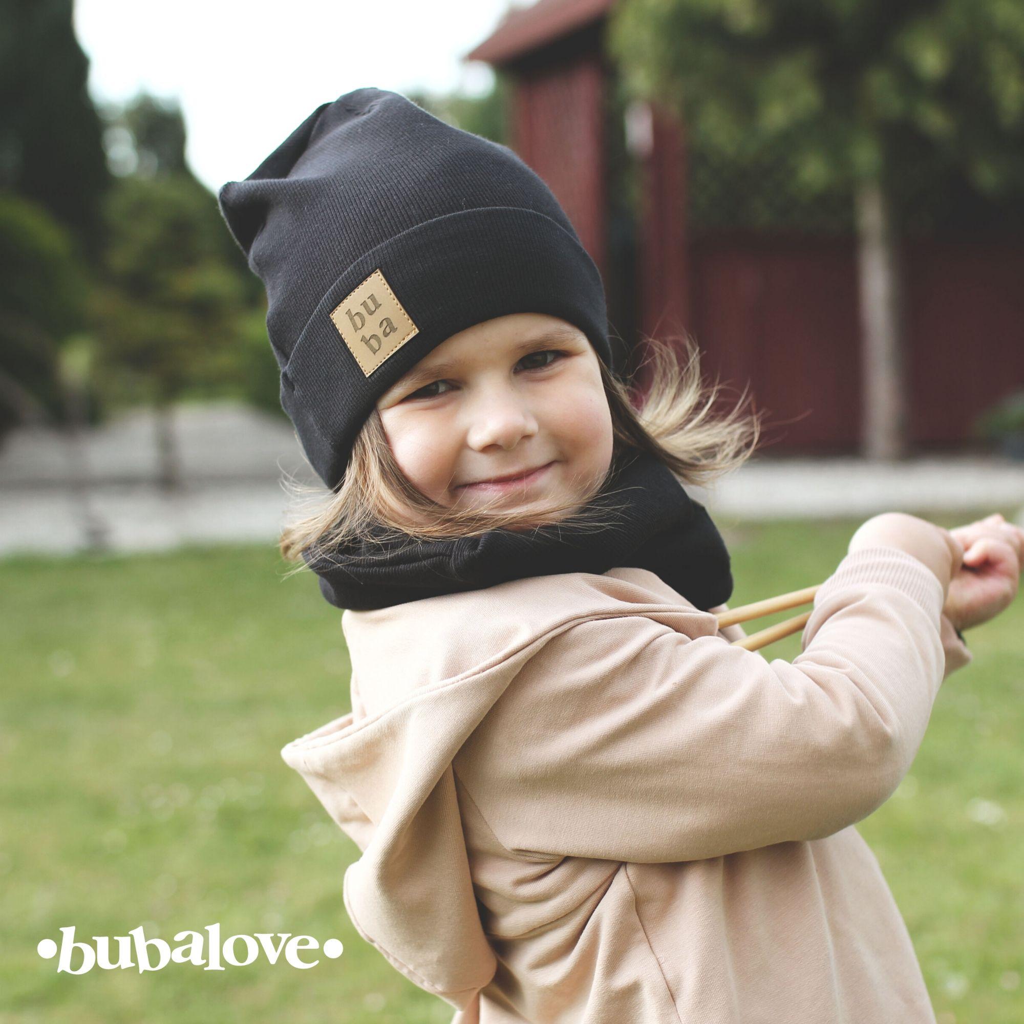 Czapka dziecięca z kominem dzianinowa unisex - czarna - Bubalove