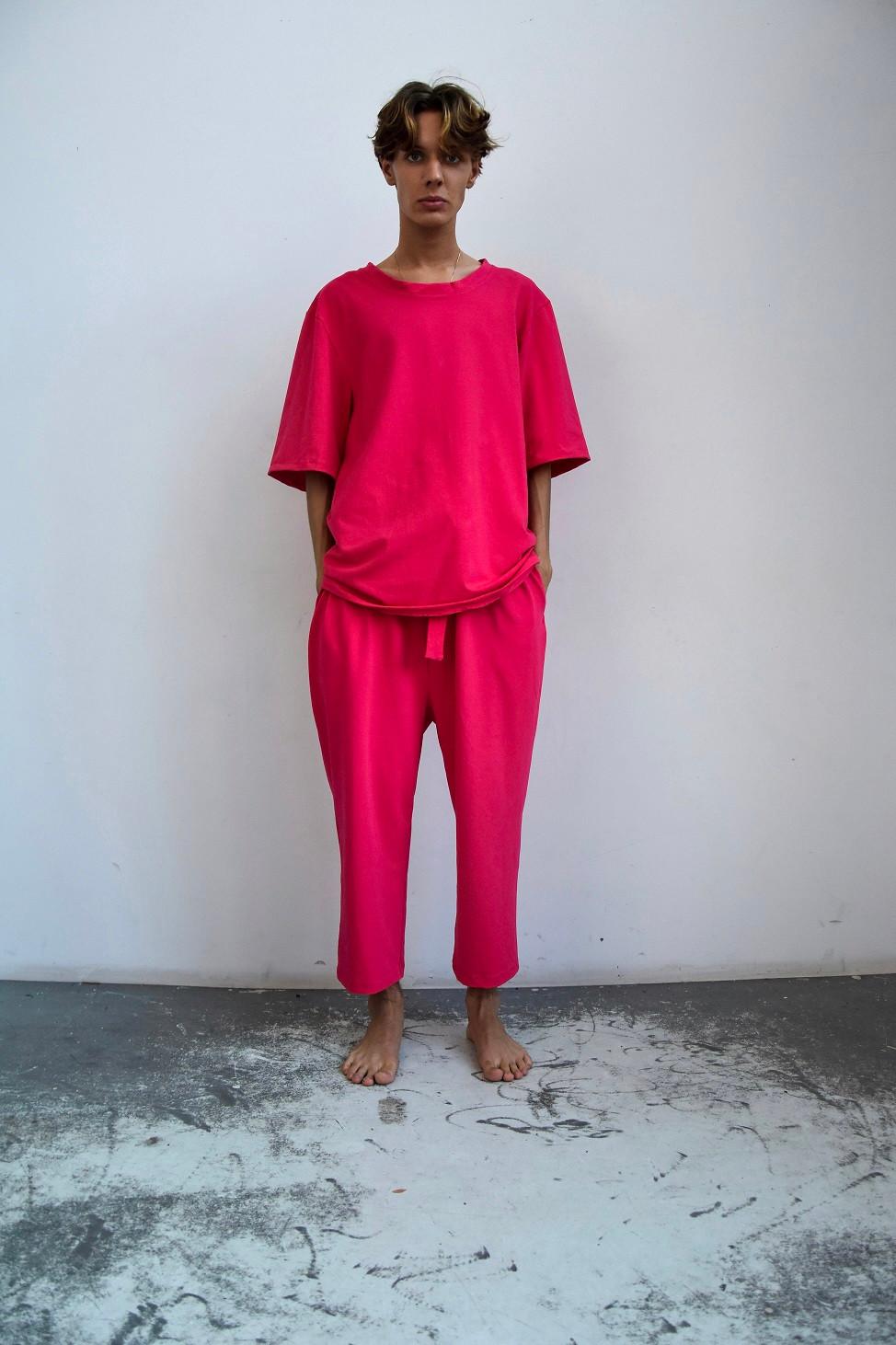 Spodnie z bawełny organicznej różowe - INAF.F | JestemSlow.pl
